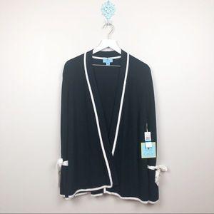 CeCe Glitz & Glamour Black Open Cardigan XL NWT